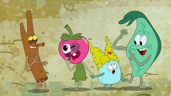 "The Mighty Ones -- ""Creepy Caterpillar/Code of Silence"" -- Episode 105 -- When Twig introduces Leaf to his new caterpillar friend Josh, Leaf must overcome his debilitating fear of caterpillars in order to give Josh a chance. / Hot tempered Rabbit is sick of the noise from the Mighty Ones' games, so he makes them a bet that they can't go for a whole day without making a sound. (Photo courtesy of DreamWorks)"