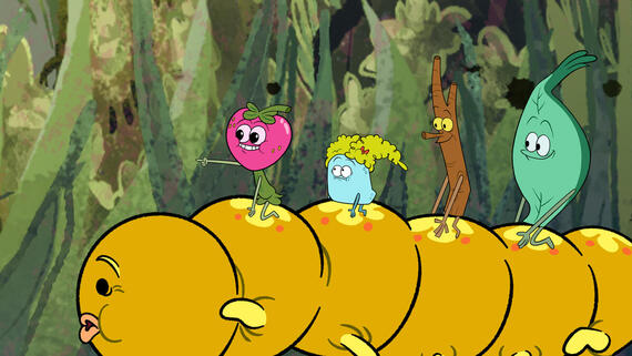 "The Mighty Ones -- ""Wad of Friendship/Twig Puts Down Roots"" -- Episode 103 -- Berry and Rocksy are thrilled about spending every waking moment together when they get stuck to the same piece of gum, but as more people join their gum ball, things spiral out of control. / When Twig begins to root, he thinks his dreams of becoming a Mighty Oak Tree are finally coming true. (Photo courtesy of DreamWorks)"