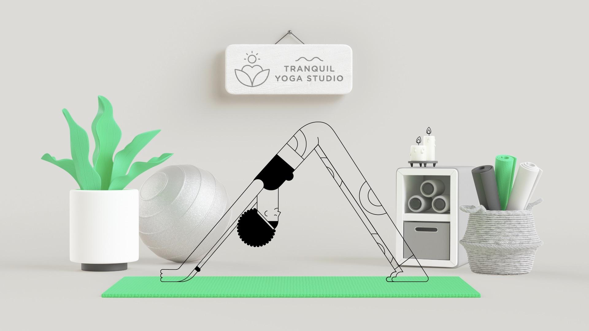cartoon character doing yoga on a green mat.
