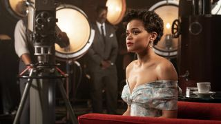 Andra Day on the set of Hulu's The United States vs. Billie Holiday movie