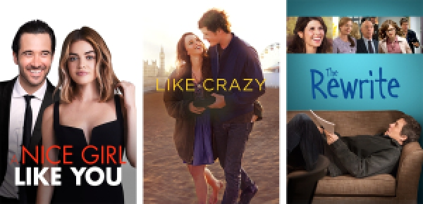 title images for A Girl Like You, Like Crazy, and The Rewrite