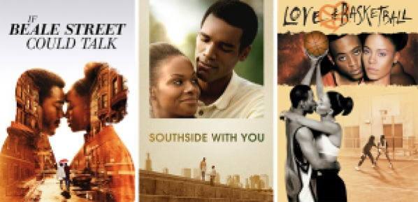 title images for If Beale Street Could Talk, Southside With You, and Love & Basketball