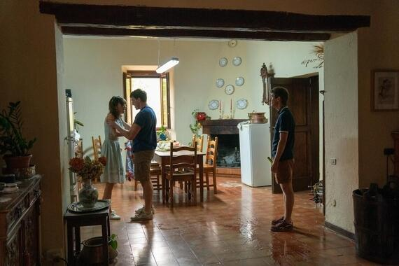 Normal People -- Episode 8 - Episode 108 -- It's the summer holidays and Connell (Paul Mescal) and Niall (Desmond Eastwood) arrive at Marianne's (Daisy Edgar-Jones) family house in Italy. The obvious chemistry between Connell and Marianne causes friction with Jamie (Fionn O'Shea), despite Connell's evident happiness with his girlfriend Helen (Aoife Hinds), who he clearly misses. Peggy (India Mullen) cooks the group a lavish meal but tensions run high. During dinner, Jamie drinks too much and picks a fight with Marianne. Connell breaks it up and attempts to soothe Marianne. Marianne stays in Connell's room that night to get away from Jamie. They talk and almost kiss, but Marianne puts a stop to it before it goes any further. Marianne (Daisy Edgar-Jones), Connell (Paul Mescal) and Jamie (Fionn O'Shea), shown. (Photo by Enda Bowe/Hulu)