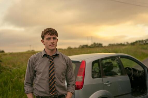 Normal People -- Episode 1 - Episode 101 -- In a school in small-town west of Ireland, Connell (Paul Mescal) is a well-liked, good looking and athletic student. Marianne (Daisy Edgar-Jones) is a proud, intimidating and unpopular loner who actively avoids her classmates and questions her teachers' authority. An attraction sparks between them when Connell comes to collect his mother Lorraine (Sarah Greene) who works at Marianne's house. A deep connection grows between the two teenagers – one they cannot stop but that they are determined to conceal from their peers. Connell (Paul Mescal), shown. (Photo By: Enda Bowe/Hulu)