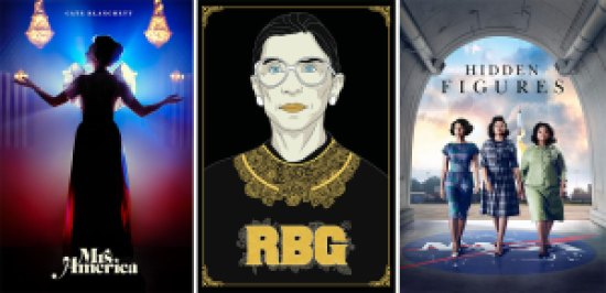 Title art for Mrs. America, RBG, and Hidden Figures on Hulu.