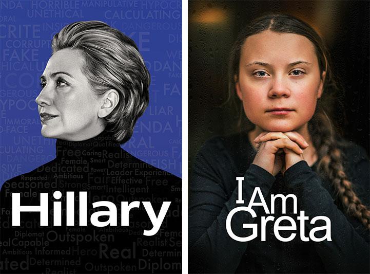Title art for Hillary and I Am Greta on Hulu