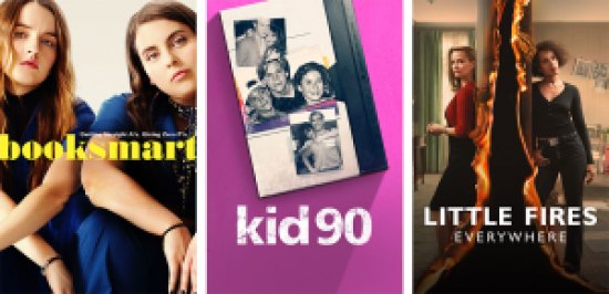 Title art for Booksmart, Kid90, and Little Fires Everywhere on Hulu