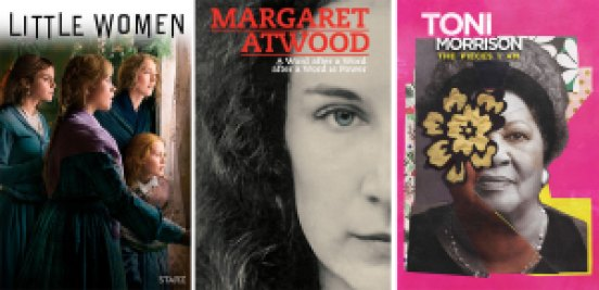 Title art for Little Women and Margaret Atwood and Toni Morrison documentaries