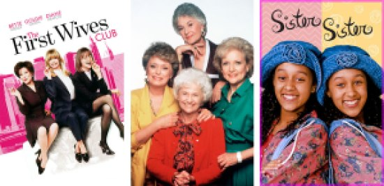 Title art for First Wives Club, Golden Girls, and Sister Sister on Hulu