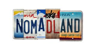 """License plates from various US states spelling """"Nomadland."""""""