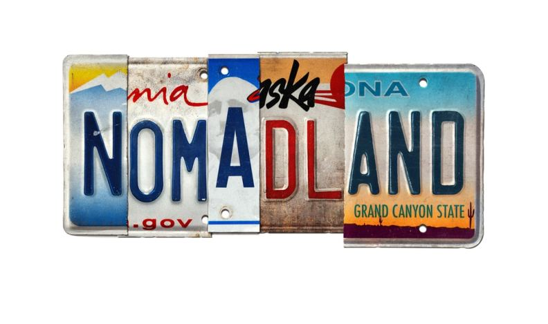 "License plates from various US states spelling ""Nomadland."""