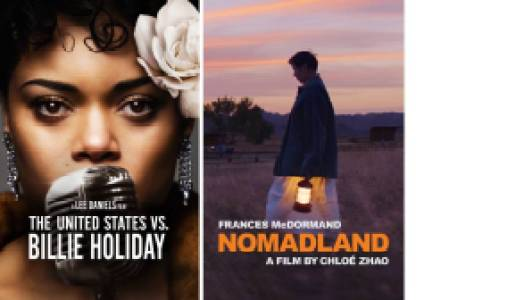 Title art for The United States vs. Billie Holiday and Nomadland on Hulu