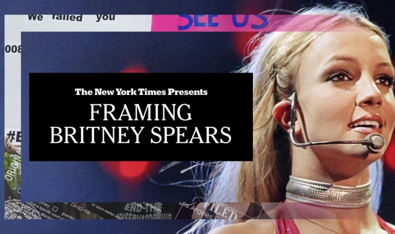 Title art for The New York Times Presents: Framing Britney Spears documentary featuring Britney Spears performing