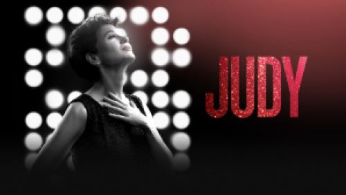 Title art for the film Judy featuring actress Renee Zellweger.