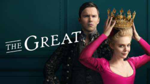 Title art for The Great featuring Elle Fanning and Nicholas Hoult.