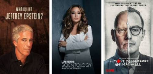 Who Killed Jeffrey Epstein, Leah Remini: Scientology and The Aftermath, The Most Dangerous Animal of All docuseries on Hulu