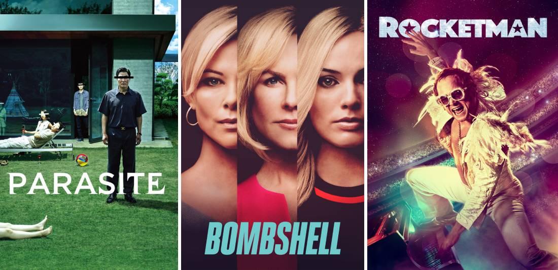 title art for Parasite, Bombshell, and Rocketman
