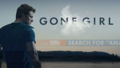 Title art for Gone Girl featuring Ben Afflack standing by a body of water