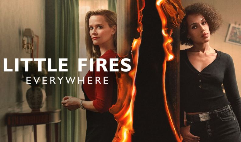 Title art for Little Fires Everywhere featuring actresses Reese Witherspoon and Kerry Washington separated by a burning wall