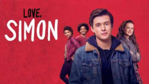Title art for Love, Simon featuring Nick Robinson and his castmates