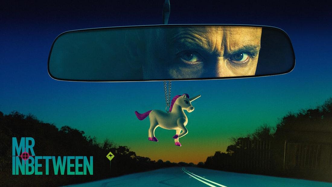 Title art for Mr Inbetween featuring Scott Ryan looking in his rearview mirror.