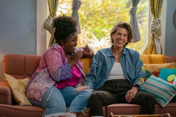 """Shrill -- """"ribs"""" - Episode 301 -- A newly single Annie jumps back into the dating world with mixed results, and has a traumatic encounter at the doctor. Fran and Emily take their relationship to the next level. The Thorn faces serious cutbacks. Fran (Lolly Adefope) and Emily (E.R. Fightmaster), shown. (Photo by: Allyson Riggs/Hulu)"""