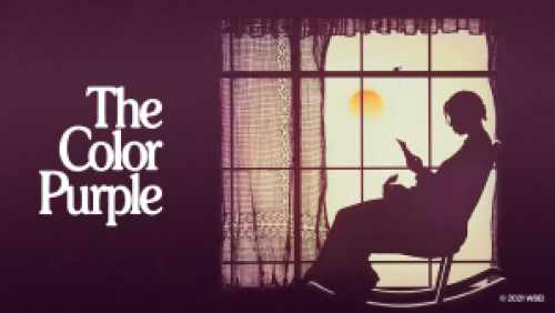Title art for The Color Purple showing Whoopi Goldberg's silhouette sitting in a rocking chair