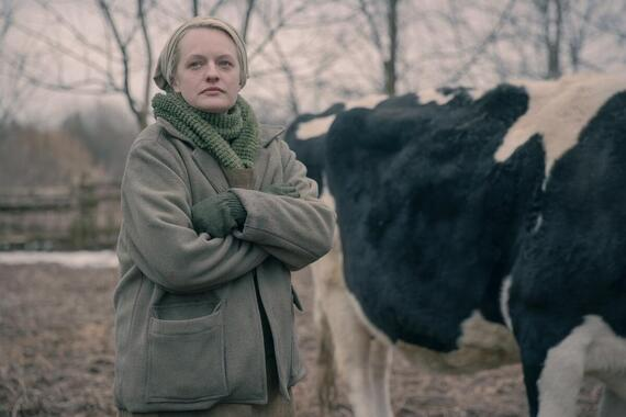 "The Handmaid's Tale -- ""Pigs"" - Episode 401 -- On the run after the end of Season 3, an injured June and the fugitive Handmaids find refuge at a farm, where the 14-year-old Wife nurses June back to health. June restores her role as the women's leader. In Gilead, an imprisoned Lawrence tries to avoid a death sentence, and Aunt Lydia reels from the loss of 86 children on Angels' Flight. The combative Waterfords, in custody in Toronto, learn of June's feat. June (Elisabeth Moss), shown. (Photo by: Jasper Savage/Hulu)"