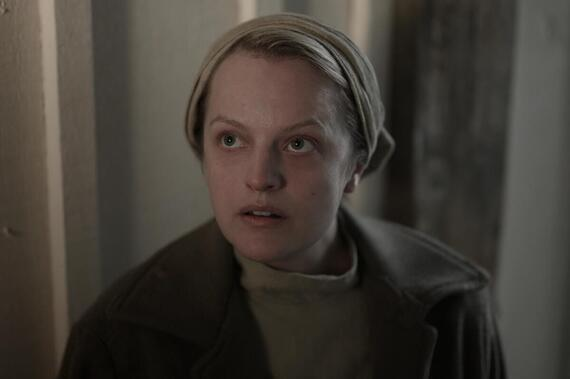 "The Handmaid's Tale -- ""Nightshade"" - Episode 402 -- June plots revenge at the local Jezebels, before she and the Handmaids plan to leave the farm for the next safe house. In Toronto, Moira deals with the fallout of June's choices, and Serena and Fred are bound together by a miracle. June (Elisabeth Moss), shown. (Photo by: Sophie Giraud/Hulu)"