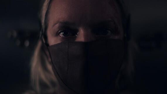 "The Handmaid's Tale -- ""The Crossing"" - Episode 403 -- Captured by Gilead, June faces a vengeful Aunt Lydia and endures a torturous interrogation. Nick and Lawrence collaborate to protect June. In Toronto, Luke struggles with how to help June and Hannah. June (Elisabeth Moss), shown. (Photo by: Hulu)"