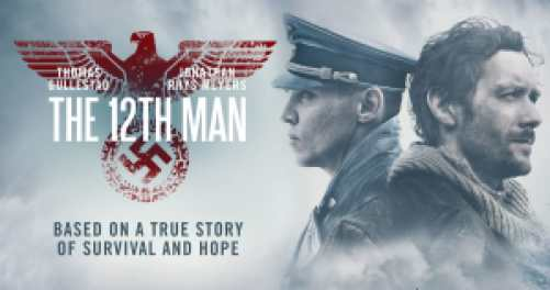Title art for The 12th Man, featuring Jonathan Rhys Meyers and Thomas Gullestad.