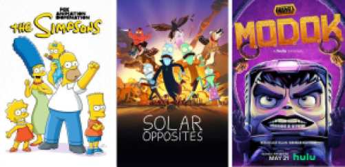Adult animated comedies on Hulu: The Simpsons, Solar Opposites, and Marvel's M.O.D.O.K.