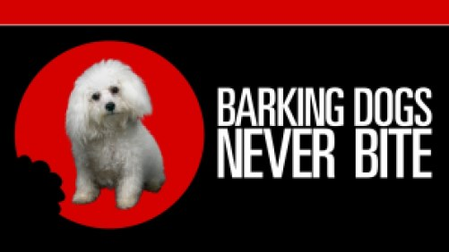 Title art for Barking Dogs Never Bite featuring a small white, fluffy dog.