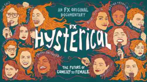 Title art for the FX documentary Hysterical with cartoon sketches of popular comedians.