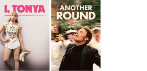 Title art for I,Tonya and Another Round, Oscar winning comedies
