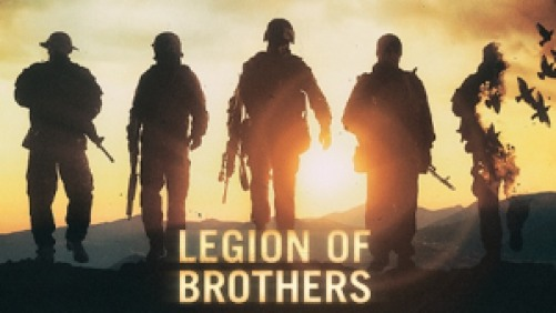 Title art for Legion of Brothers featuring soldiers walking towards the sunset