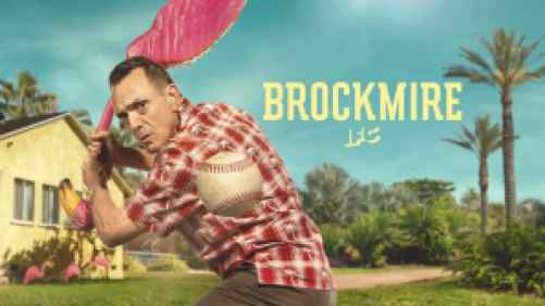 Title art for Brockmire, featuring Hank Azaria swinging at a baseball with a flamingo lawn ornament