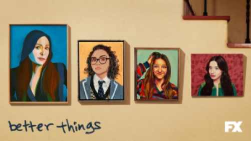 Title art for the FX show Better Things, featuring wall art photos of a woman and her three daughters.