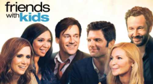 Title art for Friends With Kids featuring Kristen Wiig, Maya Rudolph, and castmates