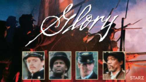 Title art for Glory, featuring Denzel Washington, Matthew Broderick, Morgan Freeman, and Cary Elwes.