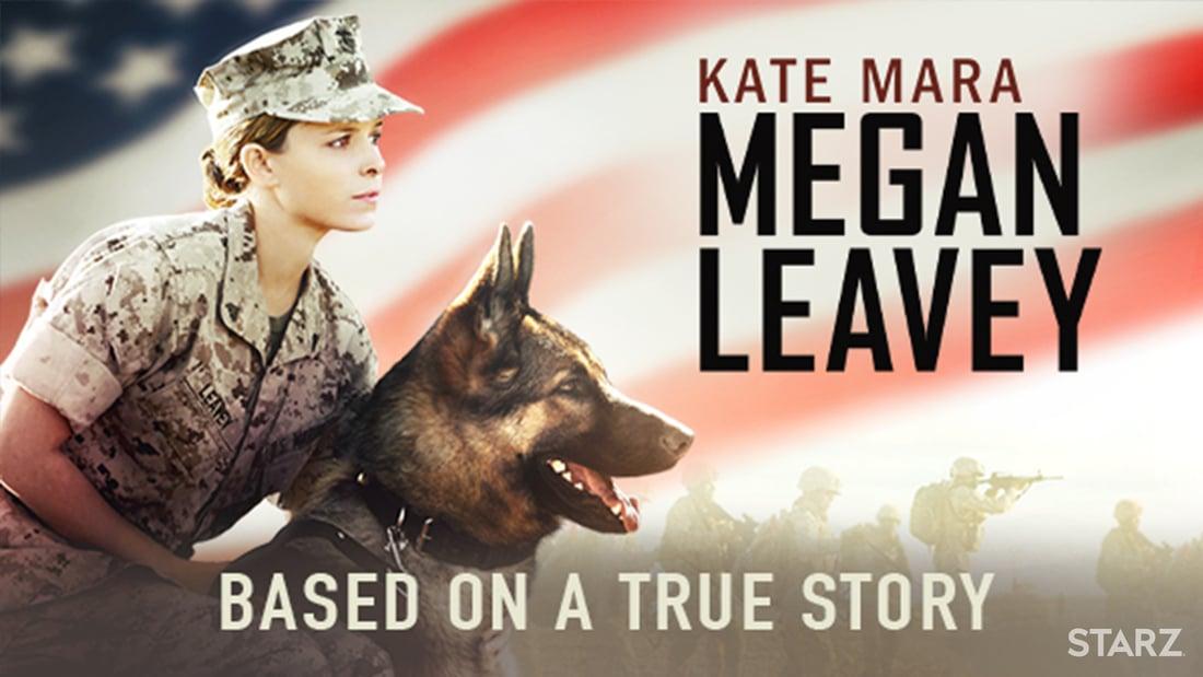 Kara Mara with a German Shepherd military combat dog in the film Megan Leavey