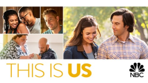 title art for the NBC drama This Is Us, featuring Mandy Moore, Milo Ventimiglia, and cast