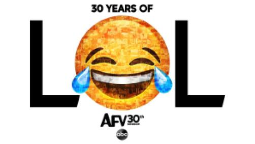 America's Funniest Home Videos title art featuring the laughing emoji.