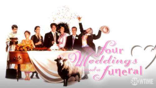 Title art for Four Weddings and a Funeral, featuring Hugh Grant, Andie MacDowell, and the rest of the cast.