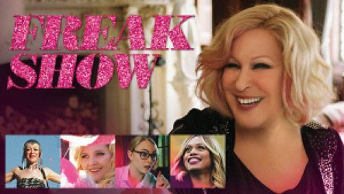 Title art for Freak Show featuring Bette Midler, Laverne Cox, and other cast members.