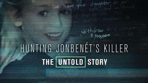 Title art for Hunting JonBenét's Killer featuring a photo of JonBenét Ramsey.