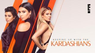Title art for Keeping Up With The Kardashians featuring Kourtney, Kim, and Khloé Kardashian.