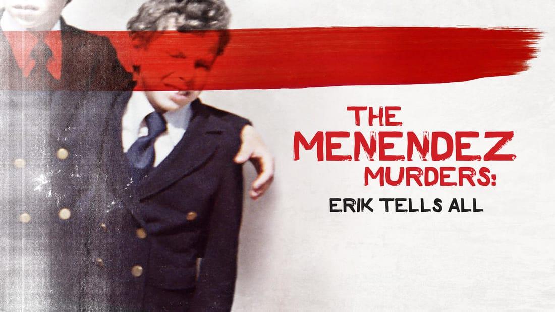 Title art for The Menendez Murders: Erik Tells All featuring a photo of Erik Menendez as a child.