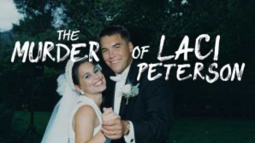 Title art for The Murder of Laci Peterson featuring a photo from Laci and Scott Peterson's wedding.
