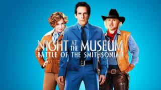 Title art for Night at The Museum: Battle of the Smithsonian featuring Ben Stiller, Amy Adams, and Owen Wilson.